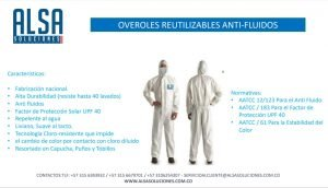 OVEROL REUTILIZABLES ANTI-FLUIDOS