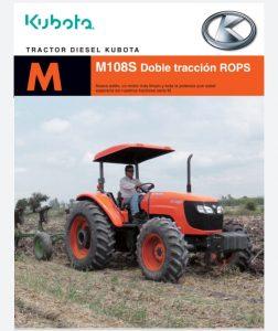 Tractor agrícola marca kubota modelo M108